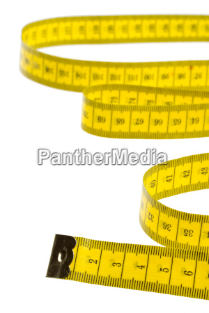 isolated yellow tape measure