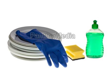 dishwashing utensils isolated