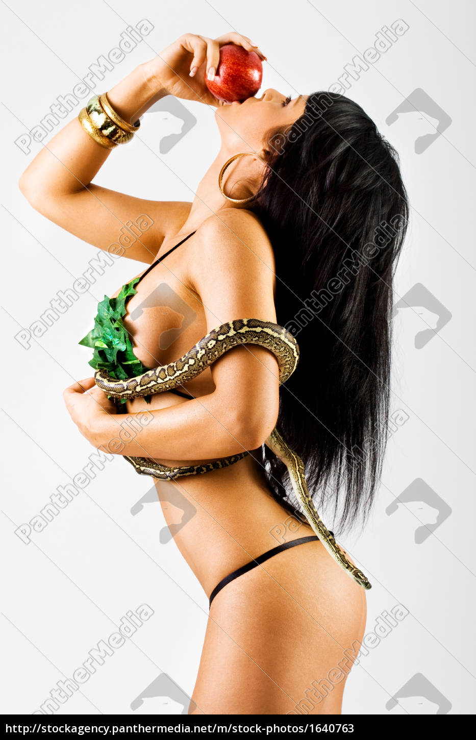 woman, with, a, snake, eating, apple - 1640763
