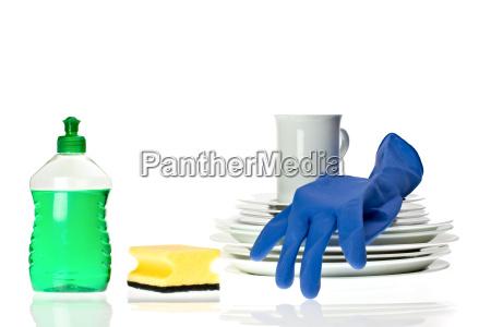 dishessponge and dish soap