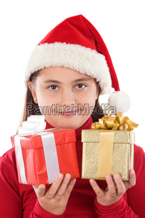 beautiful girl with presents of xmas