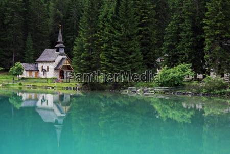 chapel at the mountain lake