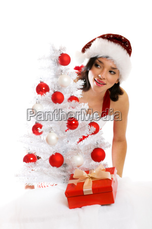 laughing, christmas, woman, with, gift - 1656765