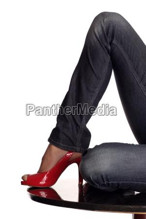 legs red shoe