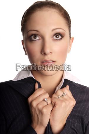brunette woman suit cold