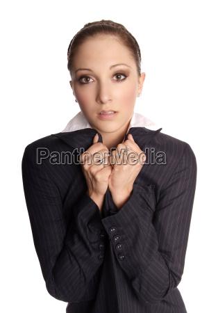 brunette woman dress cold