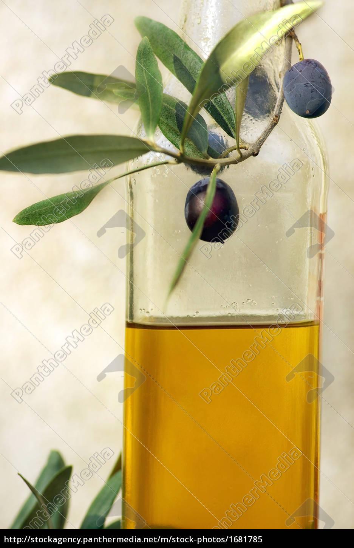 bottle, of, oliveoil, and, olives. - 1681785