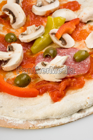 detail of a pizza on a