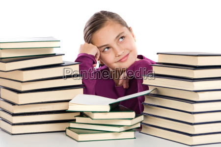 adorable, girl, with, many, books, thinking - 1692227
