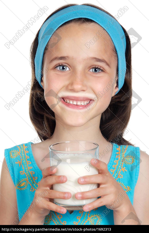 girl, drinking, milk - 1692313
