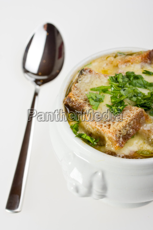 baked onion soup with cheese