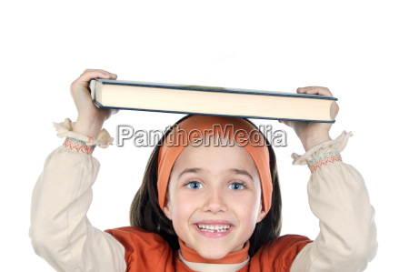 girl holding book on head
