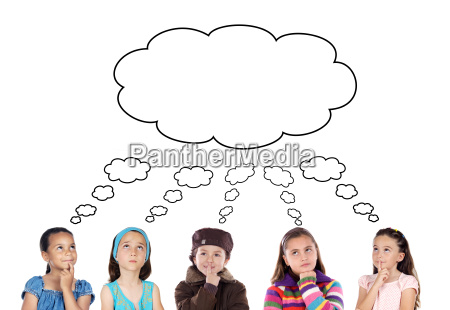 group, of, five, children, thinking - 1709789