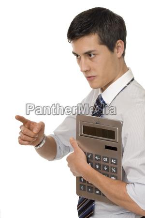 businessman when calculating