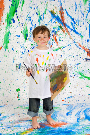 boy, playing, with, painting - 1720503