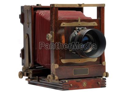 vintage wood frame photo camera