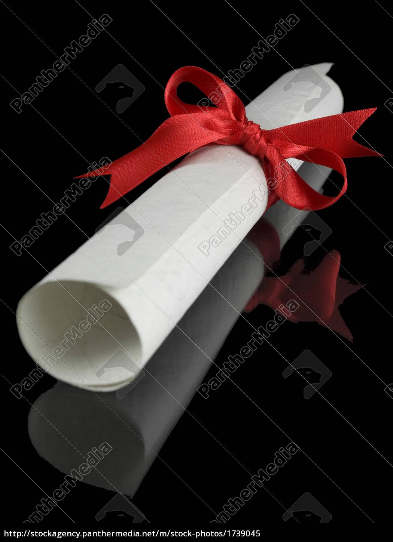 diploma, with, red, ribbon - 1739045