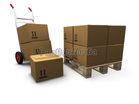 hand, truck, with, boxes - 1750065