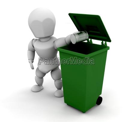 person, putting, tin, in, bin - 1750651