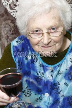 granny with wine