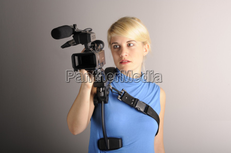 young, woman, videocamera - 1793495