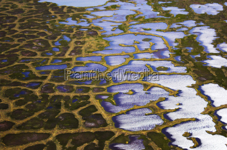 aerial view of arctic tundra