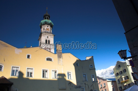 church and alps