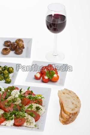 antipasti misti and bread