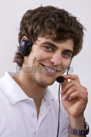 young man in the call center