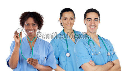 medical team of three doctors