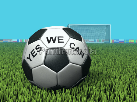 football with inscription yes we can