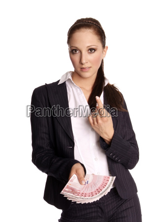 young woman banknotes