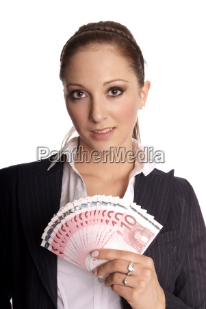 young, woman, holding, banknotes - 1909717