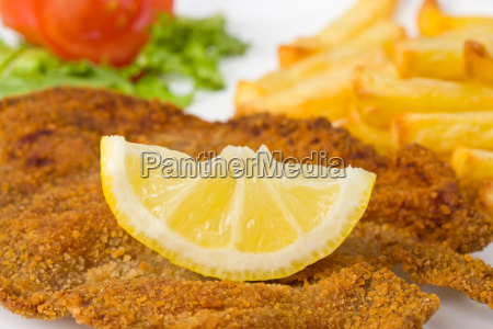 detail of schnitzel on the plate