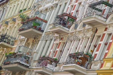 lined balconies on old buildings
