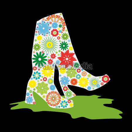 boots made of flowers