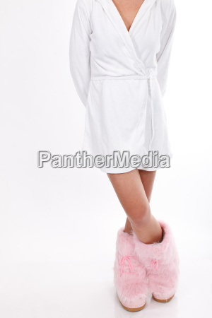 bathrobe and pink boots