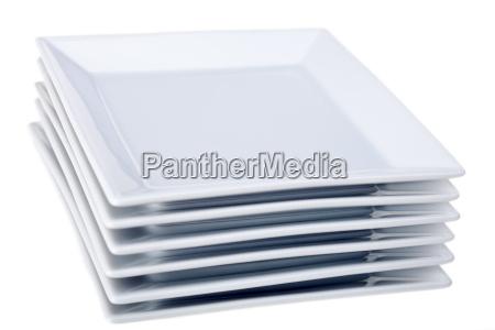 blank european caucasian plate stack six