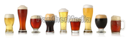 various glasses of different beers