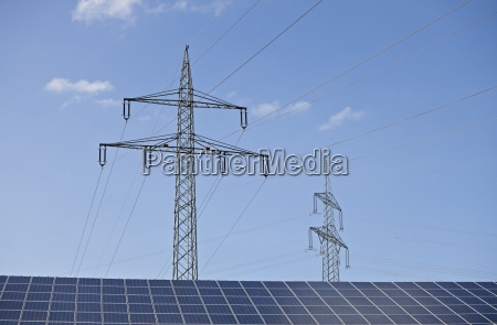 solar panels and a power pole