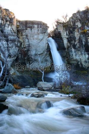 waterfall near the fitz roy