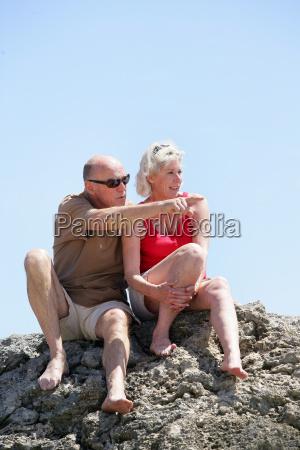 senior couple looking at horizon