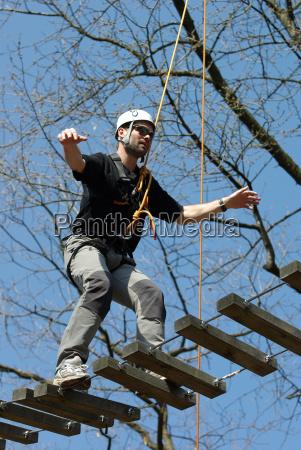 balancing jungle bridge