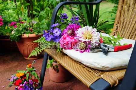 flowers and flower on chair