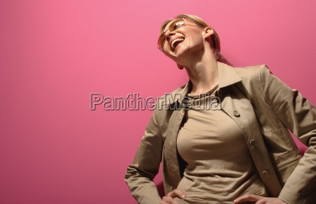 female model laughing out loud