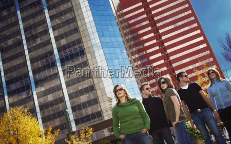 group of young adults downtown