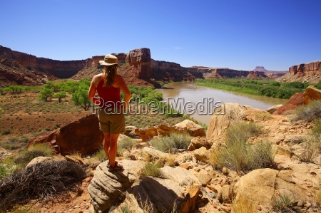 woman observing canyon