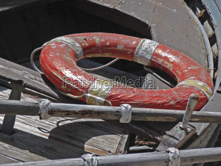lifebuoy in the wooden boat