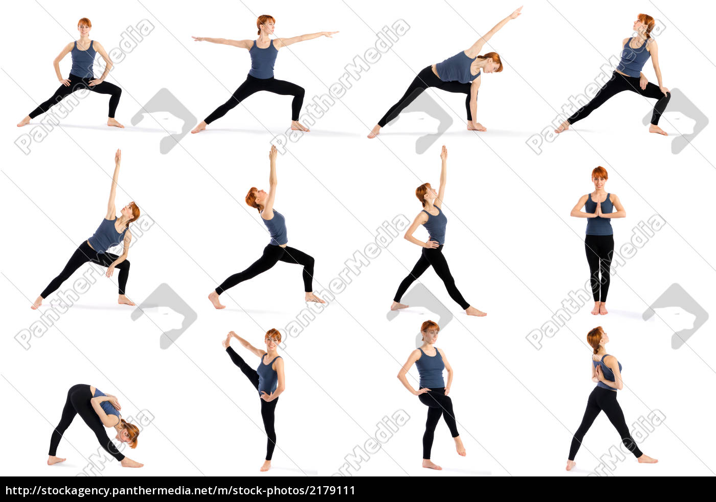 Fitness Woman In Various Standing Yoga Poses Stock Photo 2179111 Panthermedia Stock Agency