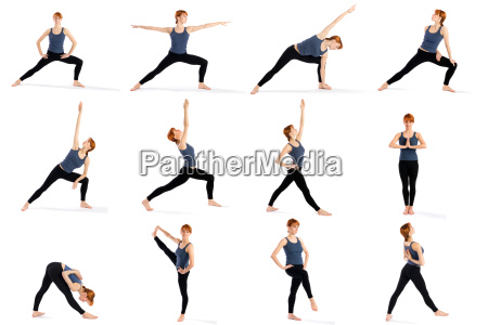 fitness woman in various standing yoga